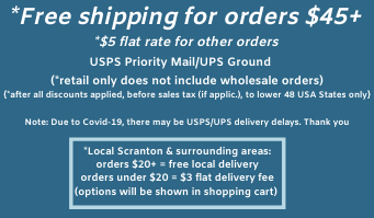 free shipping retail orders $45+, $5 flat rate shipping all other retail orders